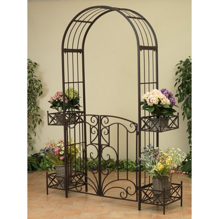 Gerson 87-Inch Tall Metal Garden Arbor Gate with Movable Planters ()