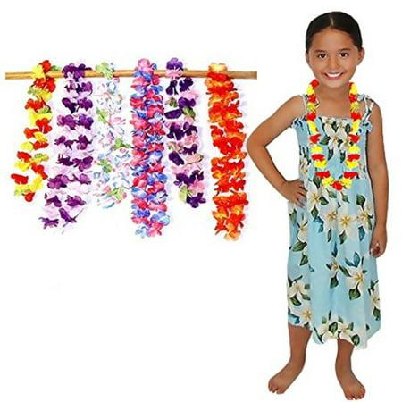 colored flower hawaiian ruffled leis necklace - 24 assorted cultured simulated silk party favor. - Hawaiian Graduation