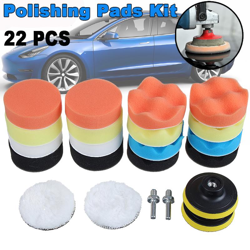 Car Foam Drill Polishing Pad Kit 22 PCS 3 Inch Buffing Pads
