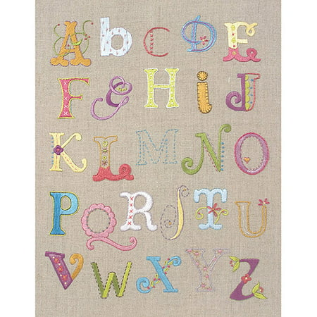 Alphabet Sampler Free Style Embroidery Kit-12X9-1/2 Stitched In Cotton Floss Multi-Colored