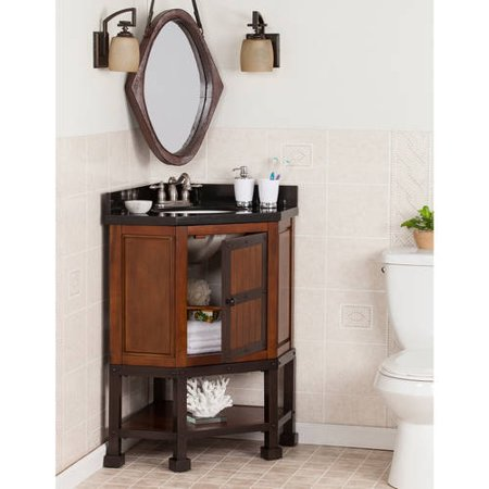 Granite Corner - Southern Enterprises Endera Corner  Bath Vanity Single Sink with Granite Top, Brown Cherry