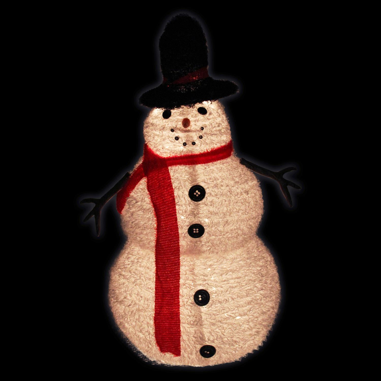 4 lighted 3 d chenille winter snowman with top hat outdoor christmas decoration