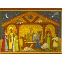 Trimmery Stained Glass Replica Jesus in the Manger Christian Christmas Cards