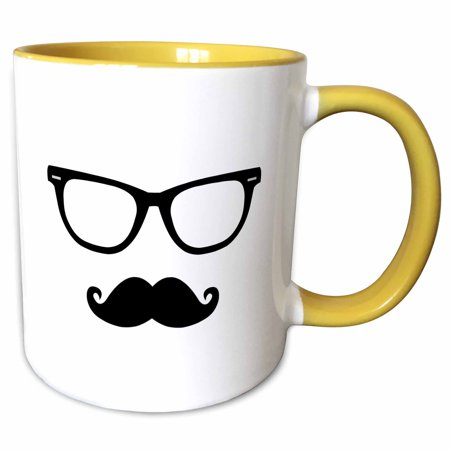 3dRose Hipster Glasses and Mustache - Two Tone Yellow Mug, 11-ounce](Glasses And Mustache)