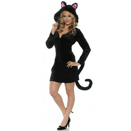 Black Cat Mini Dress Adult Costume - Costumes Black Dress