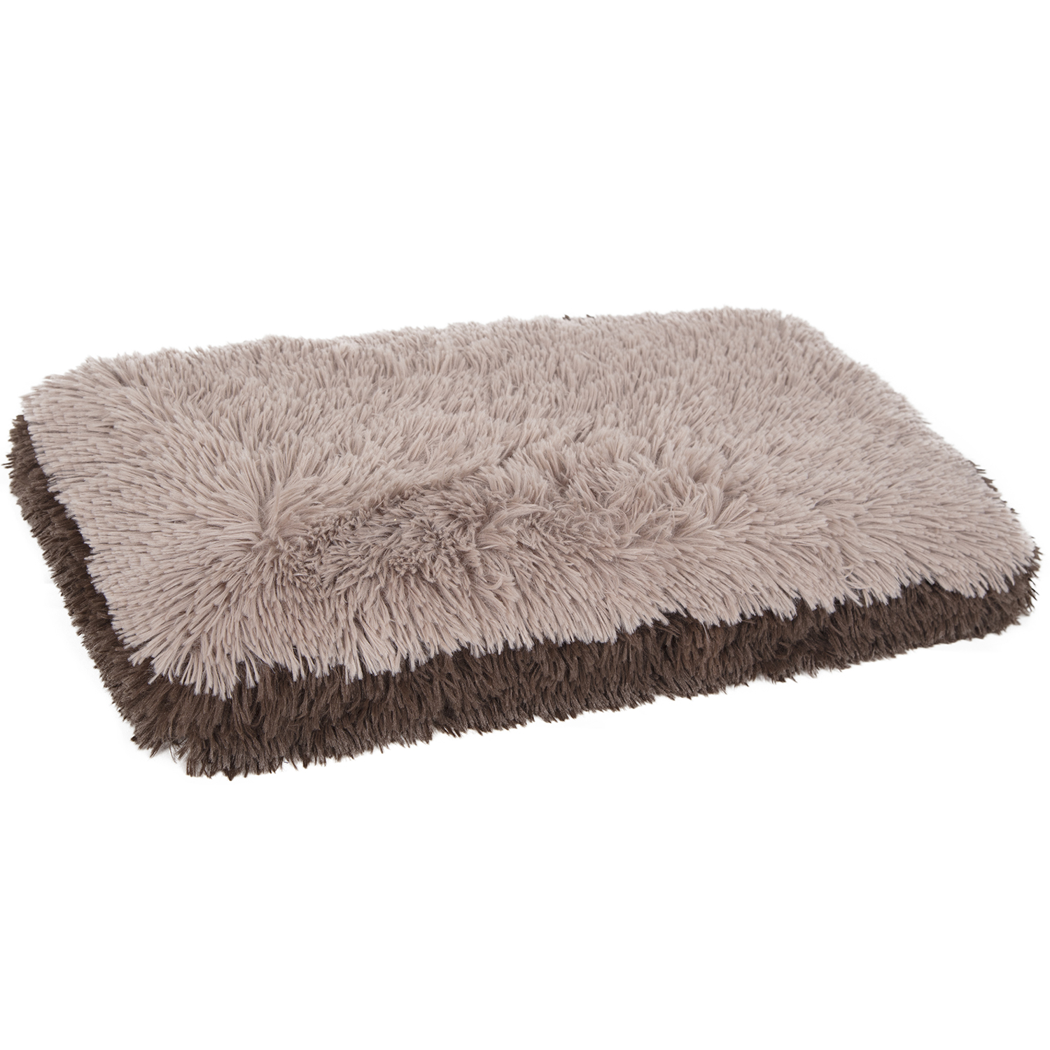 Paws & Pals Fuzzy Dog or Cat Pet Bed - Deluxe Premium Bedding Cushion Two-Toned Design