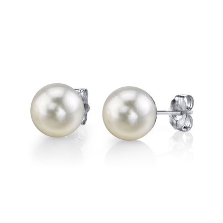 14K Gold 8.0-8.5mm White Akoya Cultured Pearl Stud Earrings - AA+ Quality