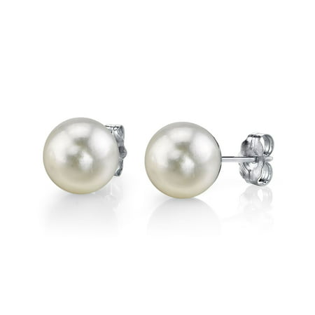 14K Gold 5.0-5.5mm White Akoya Cultured Pearl Stud Earrings - AA+ Quality