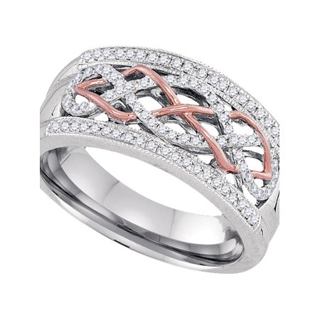 10kt Two-tone Gold Womens Round Diamond Filigree Band Ring 1/4 Cttw - image 1 de 1