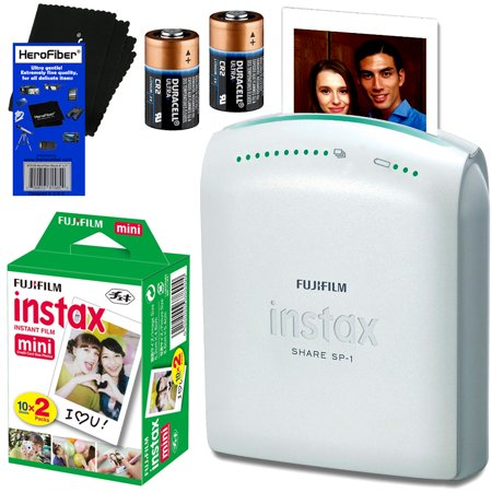 Fujifilm Instax Share Sp 1 Smartphone Printer   Fujifilm Instax Mini Instant Film  20 Sheets    2 Cr2 Lithium Replacement Batteries   Herofiber  Ultra Gentle Cleaning Cloth
