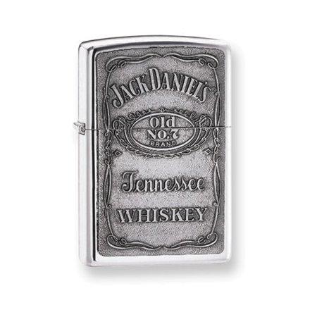 Zippo Jack Daniels Pewter Emblem High Polish Chrome Lighter