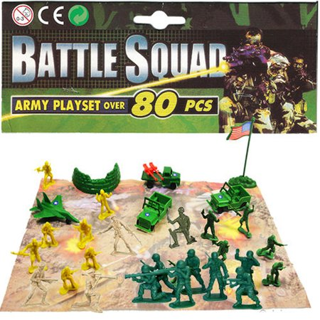 Toy Armor (80 PCS Battle Squad Army Playset Toy Soldiers Military Plastic Figurine)
