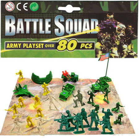 80 PCS Battle Squad Army Playset Toy Soldiers Military Plastic Figurine - Toy Army Men