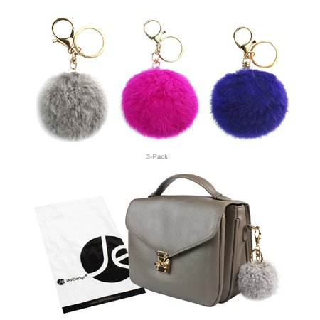 JAVOedge (3 Pack) Pom Pom Fur (3.1 Inch) Style Ball Keychain with Gold Keyring (Dark Blue, Gray, Pink)