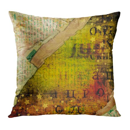 ECCOT Colorful Collage Abstract Beautiful in The of Mixed Media Alienated Watercolor Blot Brush Canvas Color Pillow Case Pillow Cover 16x16 inch