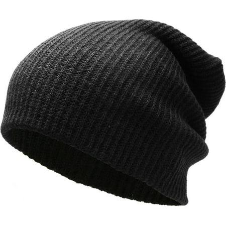 Solid Black Slouchy Beanie Skull Cap Hat Winter Ski