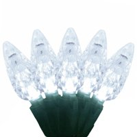 Set of 120 LED C6 Pure White Christmas Lights with 8 Functions - Green Wire