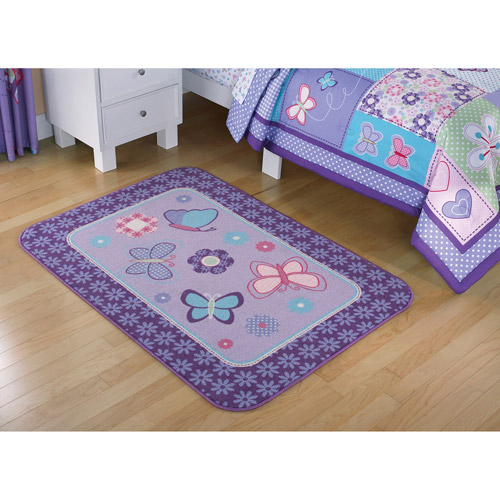 Mainstays Kids Butterfly Patches Rectangle Rug