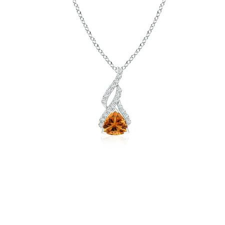 Trillion Citrine Solitaire Pendant with Diamond Swirl in 14K White Gold (4mm Citrine) - -