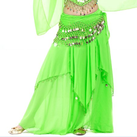 BellyLady Belly Dance Chiffon Coins Full Circular Skirt-Green