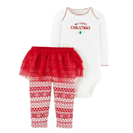 071c58880 Just One You - Carters Infant Girls 1st Christmas White Creeper Red White  Tutu Leggings Set - Walmart.com