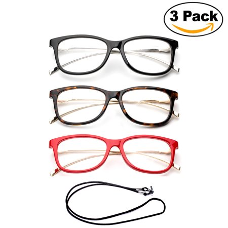 3 Pack Newbee Fashion- Cateye Metal Frame Comfortable Stylish High Quality Readers Cheaters Side Temple Print Reading Glasses for Women with Bifocal Lenses with Lanyard +1.00