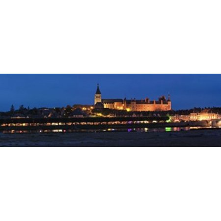 Castle and Loire bridge lit up at night Gien Loiret Loire Valley Centre Region France Canvas Art - Panoramic Images (36 x 12)