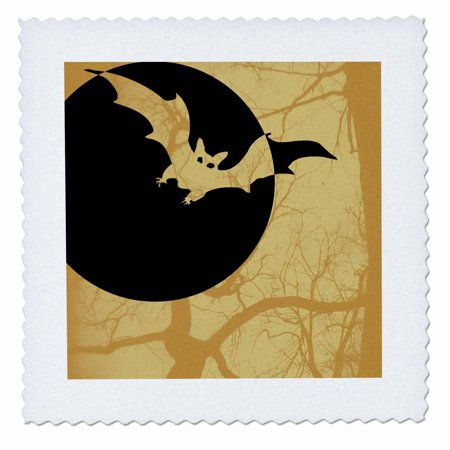 3dRose Orange Bat and Full Moon- Halloween Art- Spooky Designs - Quilt Square, 10 by 10-inch
