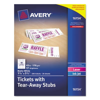 Printable Tickets w/Tear-Away Stubs, 1-3/4 x 5-1/2, Matte White, 200 Tickets/Pk, Sold as 200 Each, Ticket with tear-away stub. By Avery,USA
