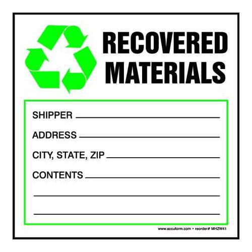 ACCUFORM SIGNS MHZW41EVC Hazardous Waste Label, 6 In. W, PK 100