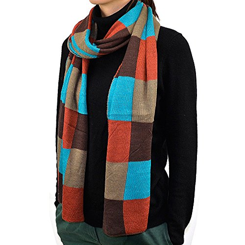 "74"" Multi Color Plaids & Checks Scarf (Brown)"