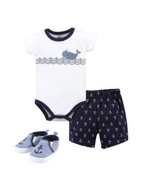 Hudson Baby Boy Cotton Bodysuit, Shorts and Shoe Outfit Set