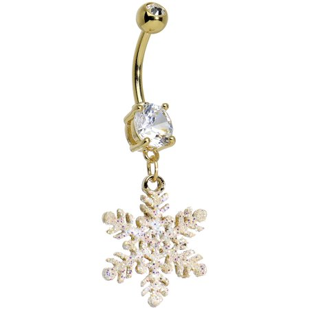 Clear Glittering Snowflake Dangling Belly Ring Chandelier Dangling Belly Ring