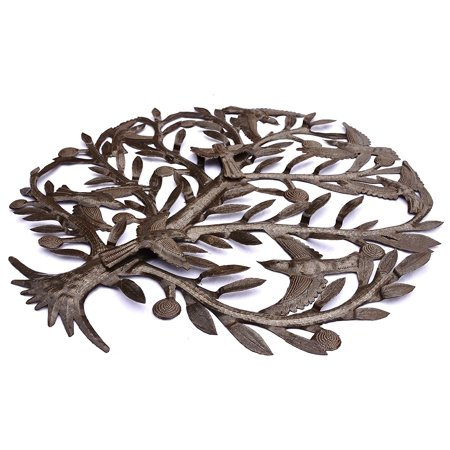 Metal Tree Wall Art with Birds, Haitian Steel Drum Art 23\' X 23 ...