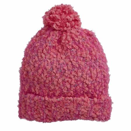 Capelli Kids Girls Pink & Silver Flecek Pom Beanie Stocking Cap Winter Hat - Stocking Hats