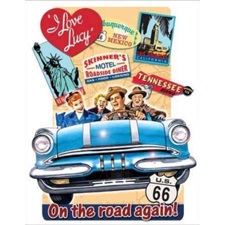 I Love Lucy On The Road Again Tv Tin Sign 13 X 16in Great