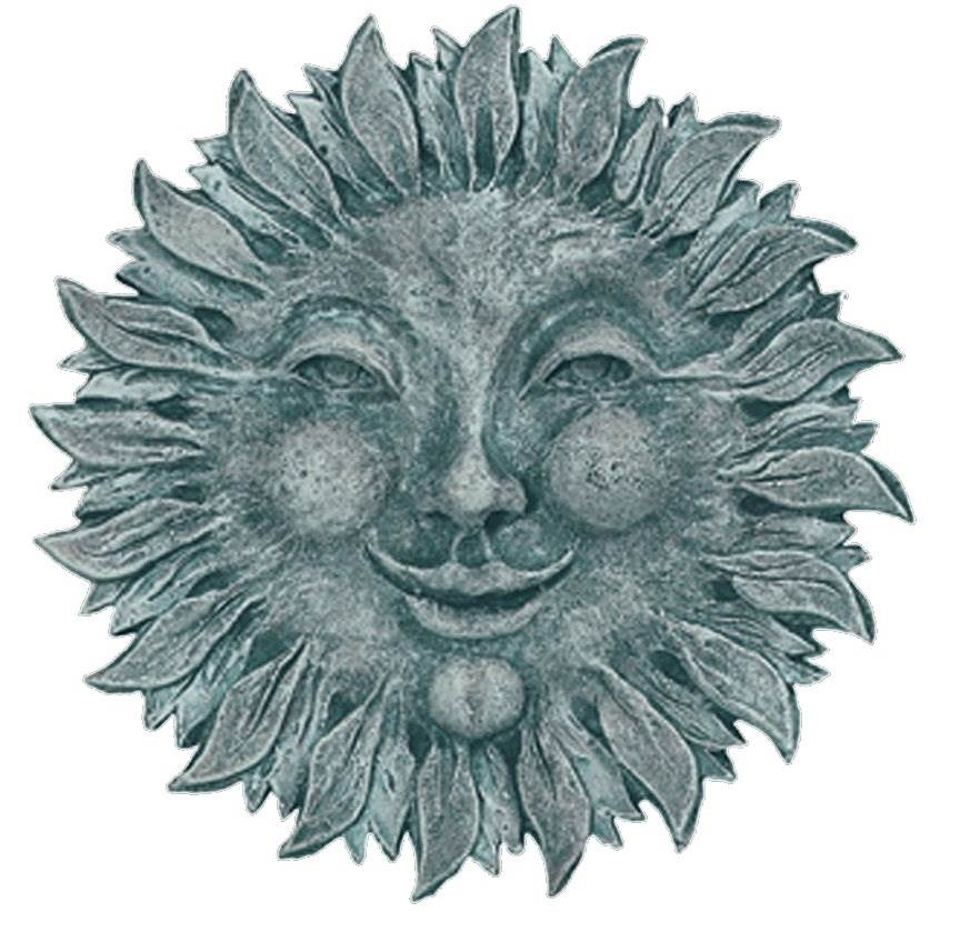 Weather Resistant Sun Face Plaque (Moss)