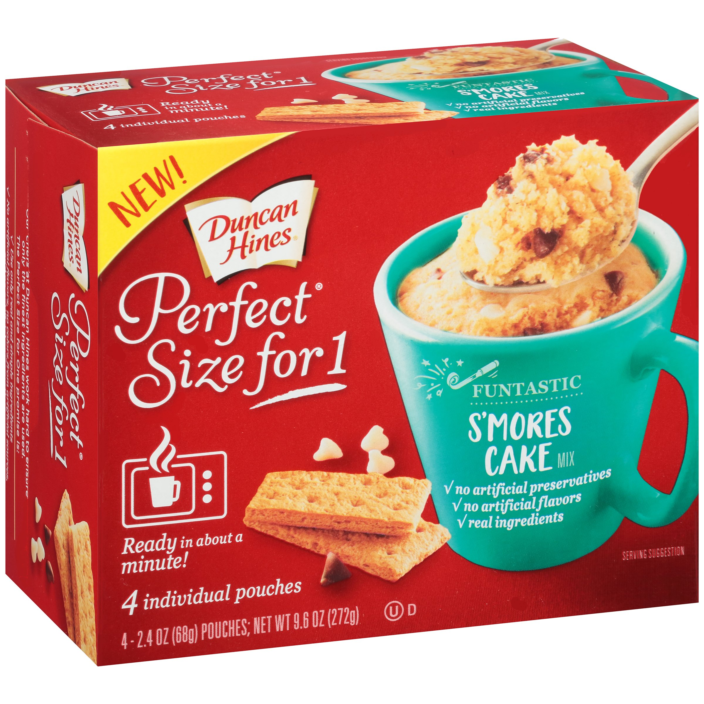 Duncan Hines® Perfect Size for One® Funtastic S'mores Cake Mix 4-2.4 oz Box