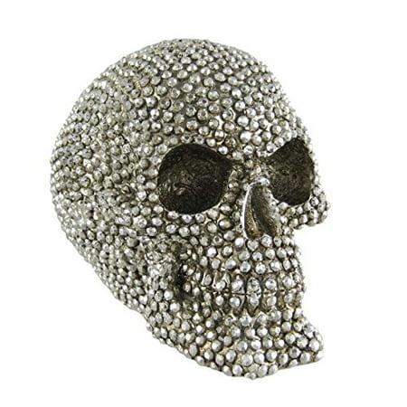Chrome Silver Finished Gemstone Skull Statue Human (Silver Buddha Statue)