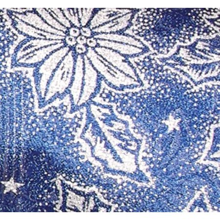 Semi Sheer Navy and Silver Holly Flower Wired Craft Ribbon 2.5