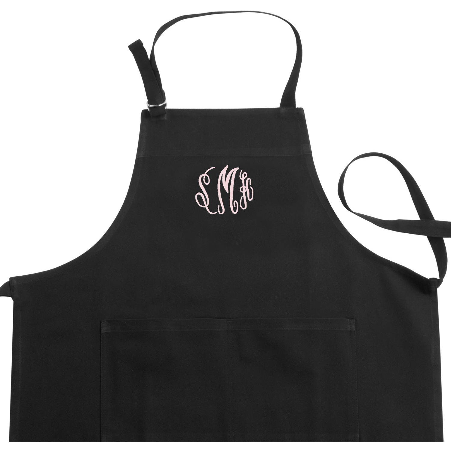 Personalized Embroidered Monogram Black Apron, Available In Different Style's
