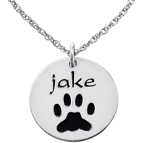 personalized sterling silver engraved name and paw print