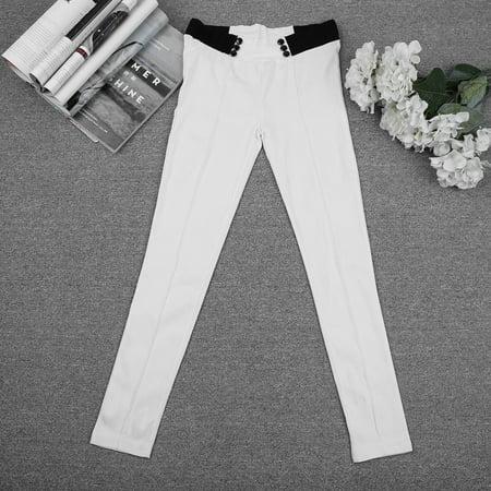 S Xl Solid Women Casual Stretch Skinny Leggings Pencil Pants Slim Low Elastic Waist Full Length Trousers White L