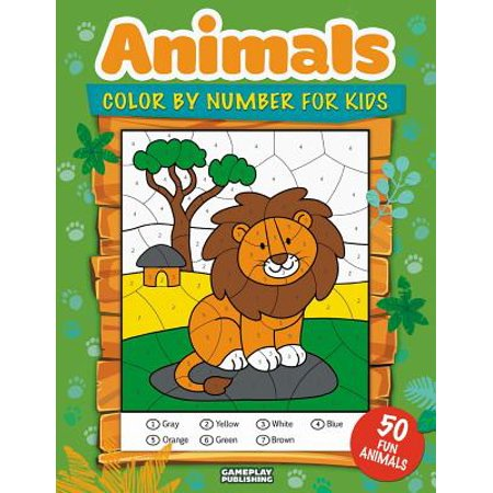 Animals Color by Number for Kids : 50 Animals Including Farm Animals, Jungle Animals, Woodland Animals and Sea Animals (Jumbo Coloring Activity Book for Kids Ages 4-8, Boys and Girls, Fun Early Learning) ()