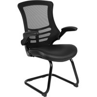 Black Mesh Sled Base Side Reception Chair with LeatherSoft Seat and Flip-Up Arms
