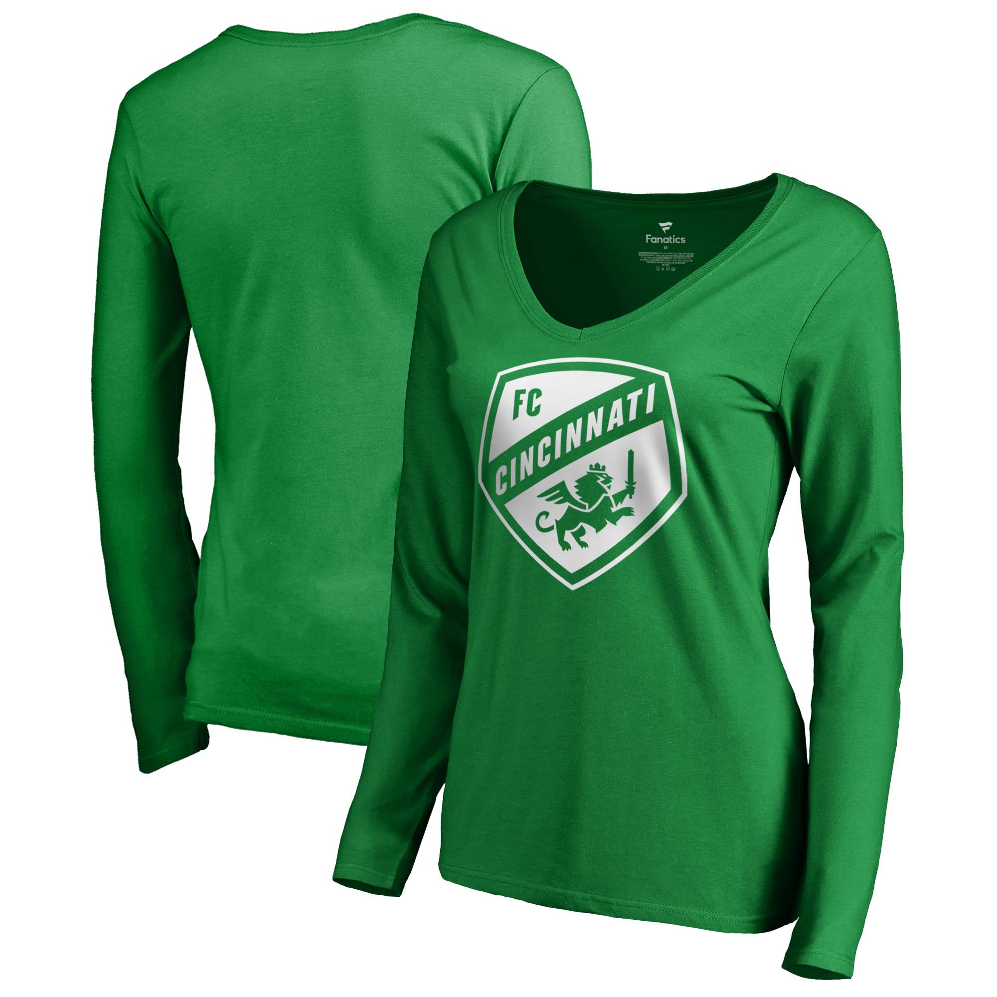 FC Cincinnati Fanatics Branded Women's St. Patrick's Day White Logo Long Sleeve V-Neck T-Shirt - Kelly Green