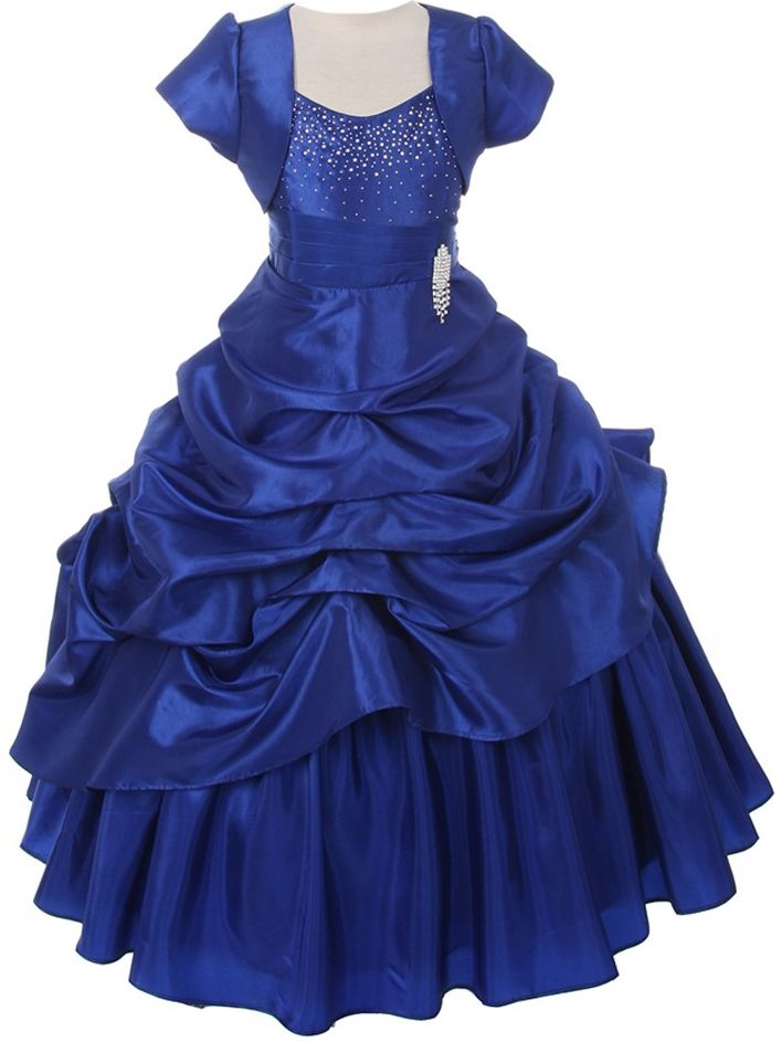 Chic Baby Girls Royal Blue Bejeweled Pick Up Bolero Pageant Dress