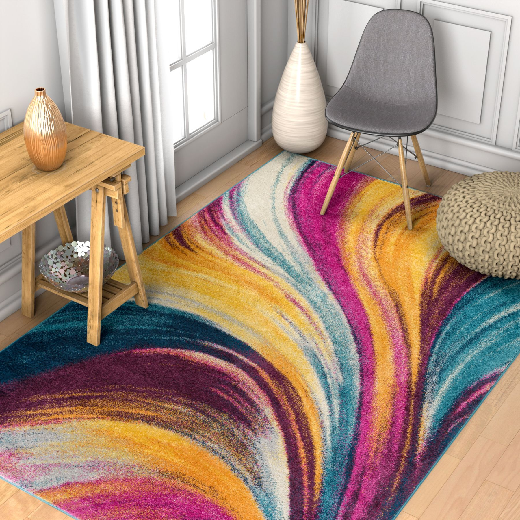 Well Woven Vettore Tratto Multi Modern Abstract Area Rug
