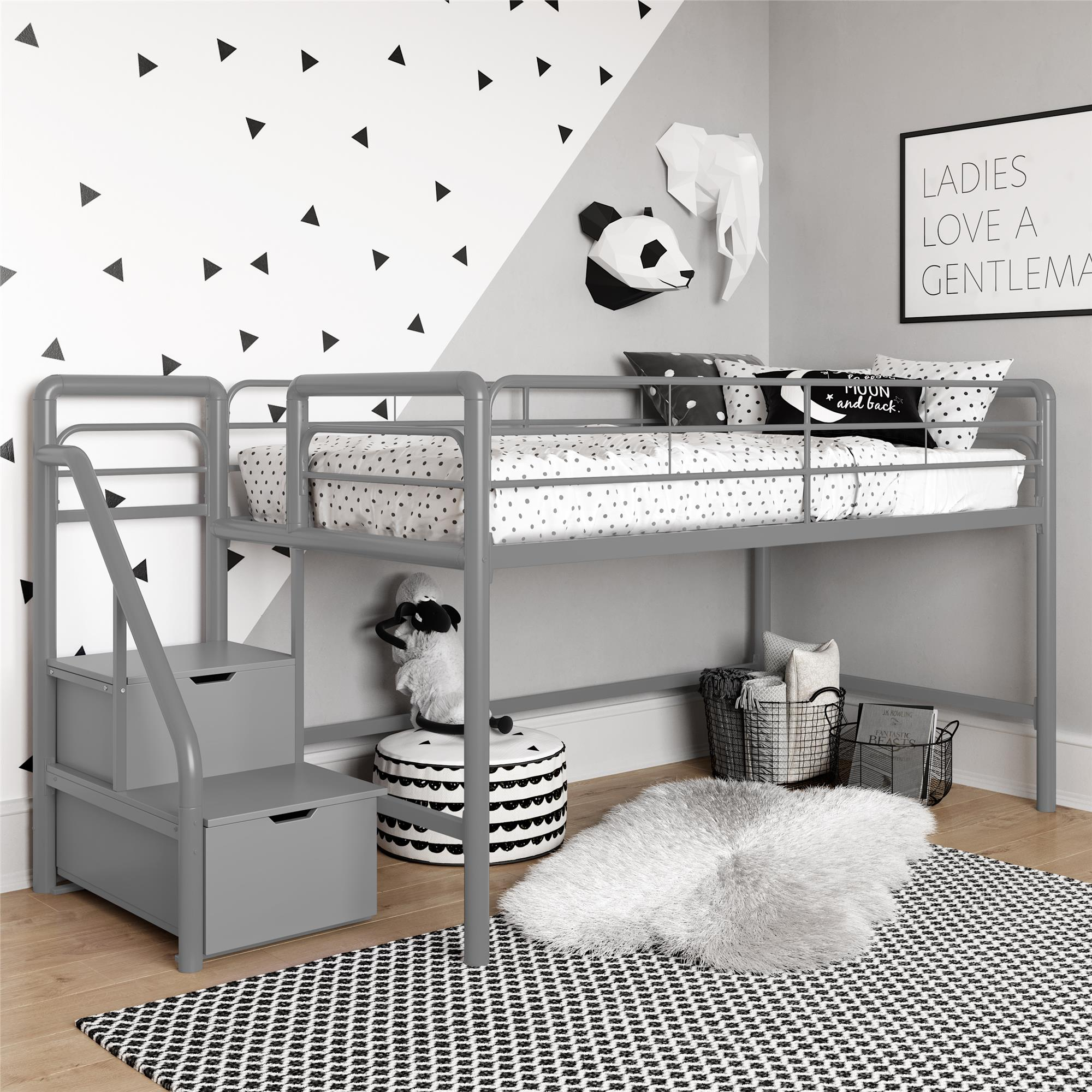 Image of: Junior Twin Loft Bed With Storage Steps Black Walmart Com Walmart Com