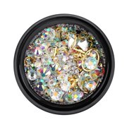 Yosoo Colorful Sharp Bottom Nail Art Rhinestones Glitter Manicure DIY Decoration Accessories, Nail Rhinestones, Nail Art Decoration